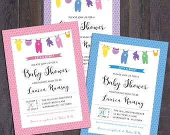 Baby shower invitation, clothes line, onesie, baby clothes, girl, boy, neutral, pink, blue, purple, customised digital printable