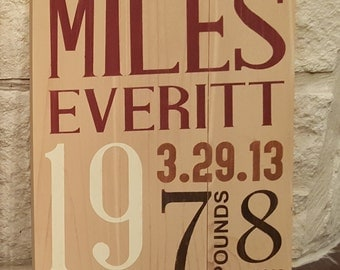 Small Baby Birth Announcement Wood Sign