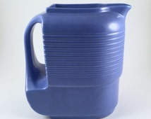 Vintage Hall China Refrigerator Pitcher, 1940s Refrigerator Ware, Westinghouse, Blue Water or Juice Pitcher, Bridal Shower or Wedding Gift