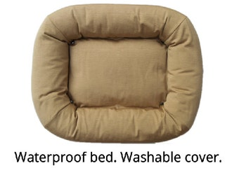 Washable waterproof designer dog bed, XL size. Dogmeo is a handmade family product that is comfortable, cleanable, elegant and durable.