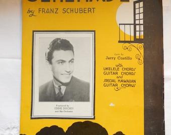 Serenade by Franz Schubert (1935), With Ukelele Chords, Guitar Chords and Special Hawaiian Guitar Chorus, Vintage Sheet Music