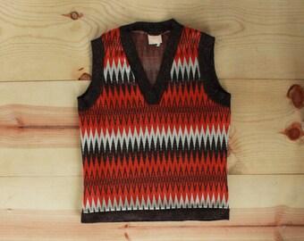 Retro 70's Zigzag Sweater Vest
