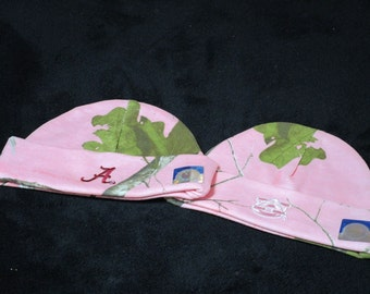 Alabama Auburn Baby Cap, Real Tree Camo, Personalized Alabama Auburn Baby Girl Real Tree Camo Cap-Pink Camo Hat