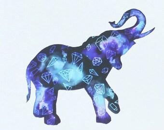 Galaxy Elephant Watercolour Print