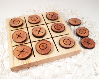 Natural Wood Tic Tac Toe Toy, Toddler Toy Classic Game, Tic Tac Toe Wooden Game, Board Game, Birthday Gift, Waldorf toy