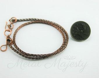 """Copper Viking Knit Bracelet 1/8"""" Diameter"""