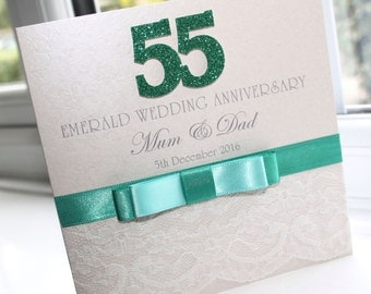 Personalised Handmade Emerald 55th Wedding Anniversary Card by Charlotte Elisabeth A019