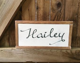Name sign, caligraphy