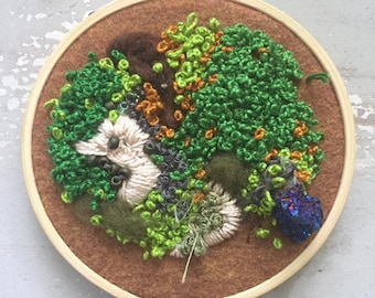 Tabletop Embroidered Moss Garden