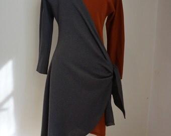 Vintage Bob Mackie 80s Asymmetrical Wool Wrap Dress sz 6