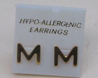 Pair of Vintage Deadstock Gold Coloured Letter M Earrings
