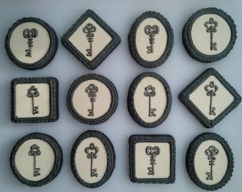 Antique Key Cookies - One Dozen Decorated Cookies