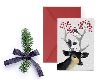 Printable Christmas Card, Reindeer Card, Digital Christmas Card Printable, DIY Christmas Card, Christmas Card Download, DIY Xmas Card