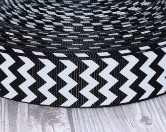 "Black chevron ribbon - 3 or 5 yards - Black and white - 7/8"" chevron ribbon - Chevron bow DIY - Craft supply - Pretty ribbon - Grosgrain"