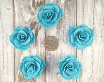 Blue burlap flowers - Set of 5 - Crafting roses - Craft supply flowers - 1 3/4 inch - DIY headband - Crafting supplies - Burlap roses