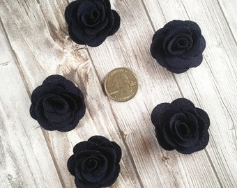 Navy burlap flowers - Set of 5 - Crafting roses - Craft supply flowers - 1 3/4 inch - DIY headband - Crafting supplies - Burlap roses
