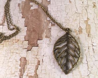 Bronze leaf necklace, Leaf necklace- Antique bronze filigree leaf necklace, For her, charm necklace, Trendy Jewelry, Filigree leaf necklace