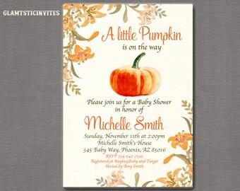 Little Pumpkin Baby Shower Invitation, Fall Baby Shower Invitation, Little Pumpkin on the Way, Fall Shower Invitation, Pumpkin Invitation