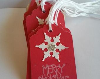 Christmas tags, Christmas gift tags, Holiday tags, Snowflake tags, Set of 10