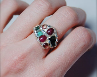 Tourmaline & Ruby Fine Silver Ring by Steven Ruse, Size 7