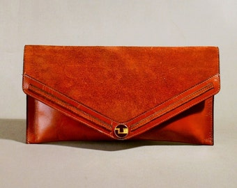 Original 70ties Vintage Ted Lapidus Cognac Leather Clutch, Handbag, Evening Bag, Handpurse