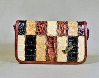 Vintage Rafaelle Patchwork Brown Leather Bag, Shoulderbag, Shoulderpurse, Imitation Snake