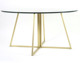 Brass Plated Modern Round Glass Table