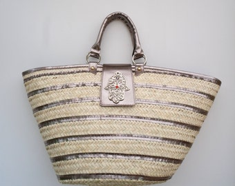 Koffa silver straw bag (medium)