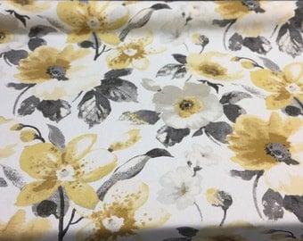 Richloom Aurelie Flatiron Floral gold with black  Fabric  By the yard