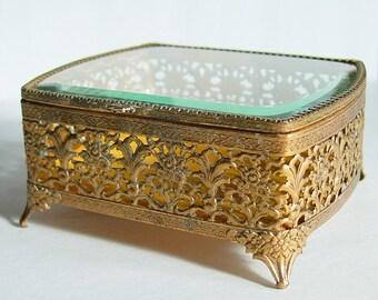 Vintage Ormolu Filigree Footed Trinket Box with Beveled Glass Lid