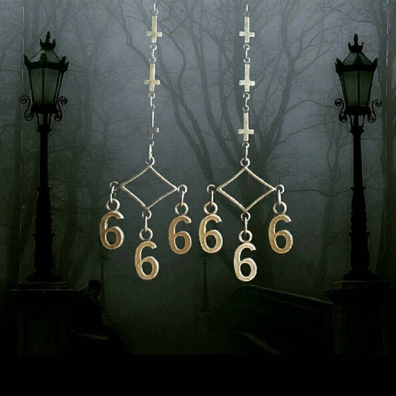 666, satanic earrings, number of the beast, heavy metal, inverted cross, upside-down cross, iron maiden, horror, goth, gothic, metalhead