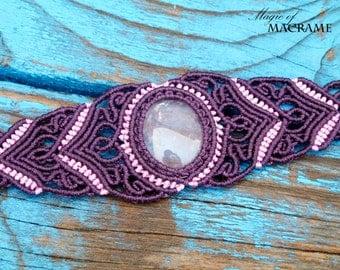 Rose quartz micro macrame bracelet| Purple bracelet |Gemstone| Gifts for women| Handmade healing jewelry| MagicOfMacrame| Anahata chakra