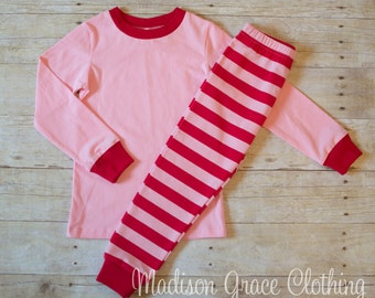 Red and Pink Stripe Valentines Day Pajamas