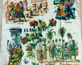 Beautiful 1960's vintage travel souvenir scarf from Spain.