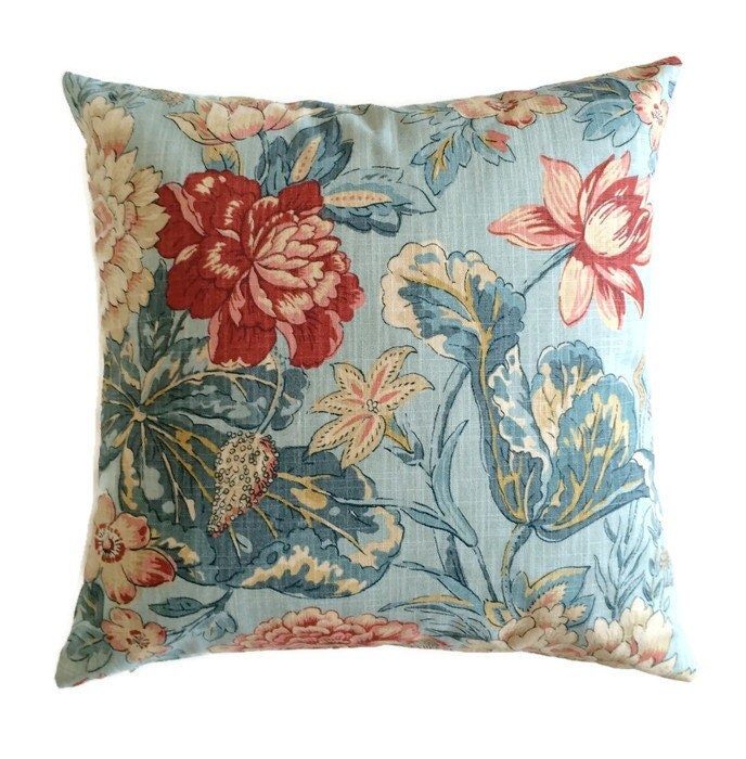 French Country Cottage Pillow Aqua Teal Blue Coral Floral