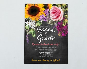 Floral Feminine Chalk Printable Invitation