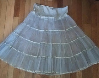 50s Crinoline Petticoat in Baby Blue Tulle Netting Rockabilly PinUp
