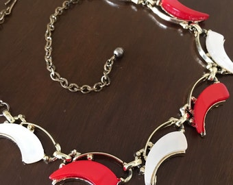 Vintage Red White and Gold Necklace Festive Nautical