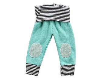 Mint french terry and striped skinny sweatpants with knee patches, baby sweats, knee patches, french terry sweatpants, modern baby