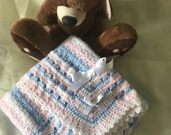Pink, Blue and White Striped Crochet Baby Blanket, Crochet Blanket, Crochet Baby Blanket