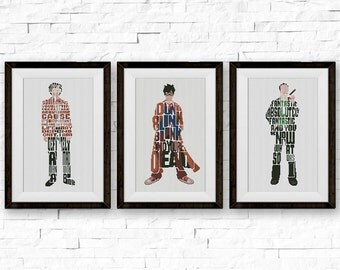 SET, Doctor Who Cross Stitch Pattern, Quote Counted x-Stitch Chart, Dr. Christopher, Dr. David, Dr. Matt, PDF Instant Download