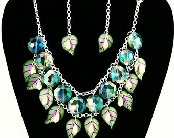 Bib Necklace. Polymer Clay Necklace. Handmade Jewelry Set: Bib necklace and Dangle Earrings. Gift for Her