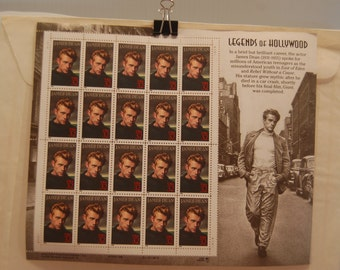 Sheet of James DEAN 1931-1955 LEGENDS of HOLLYWOOD Postage Stamp . Mint Includes 20  32 Cent Stamps