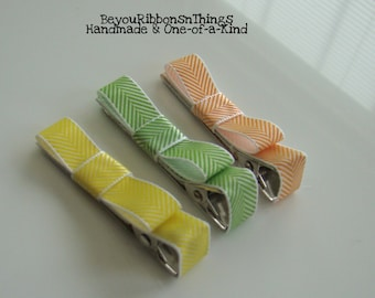 Yellow Green Orange Hair Clips for Girls Toddler Barrette Kids Hair Accessories Satin Ribbon No Slip Grip