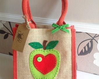 Apple jute bag. Lunch bag/gift bag/teacher present.