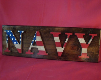 NAVY--Patriotic Stars and Stripes Sign