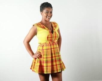 Robe plissé madras jaune
