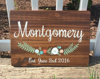 Rustic wood sign. Custom bride and groom names and wedding date. 12x17 in