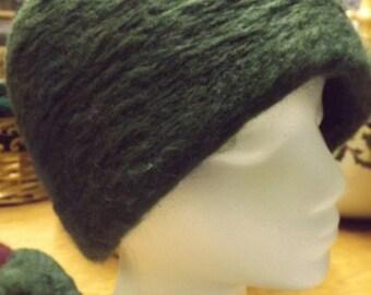 Needle-Felted Fern Green Wool Hat