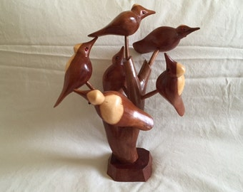Vintage Folk Art Carved Wooden Bird Tree